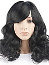longue perruque de cheveux ondules avec une frange couleur noire perruques synthetiques pour les femmes