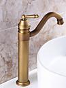 pont monte rotatif avec valve en ceramique poignee seul trou pour laiton antique, robinet de cuisine