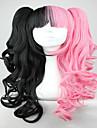 70cm anime classique ondulee tressee lolita cosplay perruque rose et noir