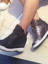 Svart / Silverfärgad-Kilklack-Dam-Komfort-Syntetiskt-Fritid-Sneakers