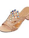 Damă Sandale Vară Pantof cu Berete Luciu PU Casual Toc Gros Blocați călcâiul Sclipici Strălucitor Negru Bej Albastru Închis Bleumarin