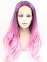 Sylvia dentelle synthetique perruque avant pourpre rose trois tons cheveux ombre chaleur cheveux resistants ondes longues naturel perruques