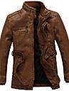 Bărbați Palton Casul/Zilnic / Muncă / Plus Size Vintage / Simplu(ă),Mată Manșon Lung Toamnă / Iarnă Stand-Negru / Maro Mediu PU