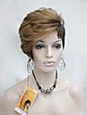hög kvalitet värme vänlig strawberry blonde vidskepelse brun asymmetri kvinnors kort peruk