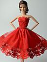Fete / Soiree Robes Pour Poupee Barbie Rouge Lace Robes Pour Fille de Doll Toy