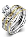 Inel Inel de logodna Teak Zirconiu Placat Auriu La modă Auriu Bijuterii Nuntă Petrecere Zilnic Casual Sport 1 buc