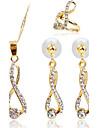 Bijuterii 1 Colier / 1 Pereche de Cercei / Inele imitație de diamant Petrecere / Zilnic / Casual 1set Dame Auriu Cadouri de nunta