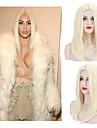 Femme Perruque Synthetique Sans bonnet Raide Blond Platine Au Milieu Perruque Naturelle Perruque Halloween Perruque de carnaval Perruque