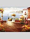 HANDMÅLAD Landskap / Abstrakta landskap Oljemålningar + Skriver,Klassisk / Medelhavet En panel Kanvas Hang målad oljemålning For