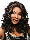 heta försäljning belyser mörk choklad brunt hår värmebeständiga syntet medellång lockig African American peruk för kvinnor