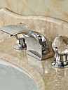 Contemporain Diffusion large Cascade with  Valve en ceramique Deux poignees trois trous for  Chrome , Robinet lavabo