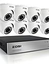 zosi®hd 8ch 720p dvr 8pcs kits de surveillance de la camera 1.0MP etanches de securite exterieurs pour la maison