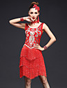 Latin Dance Dresses Women\'s Performance Spandex Rhinestones / Sequins / Tassel(s) 4 Pieces Sleeveless High Dance Costumes