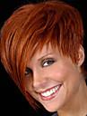 populära Hot europeiska celebirty slit peruk med sidan bang värmebeständigt nya kort bruna syntetisk peruk för kvinnor parti peruk