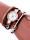 Damers Modeklocka Armbandsur Armbandsklocka Quartz Färgglad PU Band Vintage Bohemisk Berlock Armring Häftig Fritid Svart Vit Blå Röd Rosa