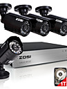 zosi®8ch 4pcs enregistreur video 720p 1.0MP maison camera de securite kits de surveillance 1tb hdd