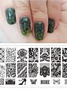 dentelle 1pcs fleur noire 6 * 12cm plaques nail art manucure modele ongles outils de timbre