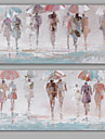 HANDMÅLAD Abstrakt / Människor olje,Moderna / Klassisk Två paneler Kanvas Hang målad oljemålning For Hem-dekoration
