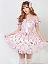 Une Piece/Robes Lolita Classique/Traditionnelle Princesse Cosplay Vetements de Lolita Incanardin Couleur Pleine Manches courtes Moyen Robe