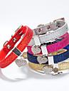 Katter / Hundar Halsband Justerbara/Infällbar Hjärtan / Bergkristall Röd / Blå / Guld / Silver / Ros PU Läder