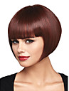 bob courte ligne droite pour les femmes brun fonce bang cote complet perruques synthetiques de cheveux perruque cosplay pas cher