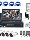 strongshine® IP kamera med 720p / IR / vattentätt och 4ch NVR med 7inch LCD / 1TB övervakning hdd combo kit