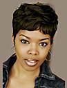 naturliga vågiga korta människohår peruker för svart kvinna