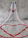 Voal de Nuntă Două Straturi Voaluri de Obraz Voaluri de Catedrală Margine cu Aplicație de Dantelă Margine dantelată Tul Dantelă