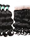 Hår Inslag med Stängning Brasilianskt hår Kroppsvågor 4 delar hår väver