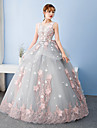 Formal Evening Dress Ball Gown Jewel Floor-length Tulle with Bow(s)