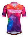 Miloto Maillot de Cyclisme Femme Manches courtes Velo Shirt Maillot Chemise Hauts/TopsSechage rapide Permeabilite a l\'humidite Zip