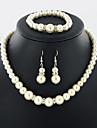 Dame Seturi de bijuterii Perle de Mireasă Perle 1 Colier 1 Pereche de Cercei 1 Brățară Pentru Nuntă Zilnic Cadouri de nunta