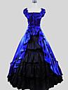 One-piece/Klänning Kjolar Gotisk Lolita Victoriansk Cosplay Lolita-klänning Blå Enfärgat Holk Kort ärm Ankellång Kjol Klänning FörBomull