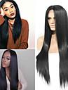 Fibre resistant a la chaleur de haute qualite couleur noire longue partie mediane synthetiques noirs droites naturelles perruques avant de lacet