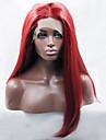 röd färg syntetisk spets front peruk långt rakt hår värmebeständigt syntetiskt hår fiber peruk för mode kvinna