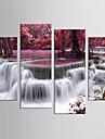 canvas Set Landskap Blommig/Botanisk Moderna Realism,Fyra paneler Kanvas Alla Form Print Art väggdekor For Hem-dekoration