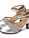Chaussures de danse(Noir Argent Or) -Personnalisables-Talon Personnalise-Cuir Paillette Brillante-Latines