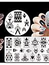 4st / set födda ganska geometri tema nail art stämpling plattor manikyr mall