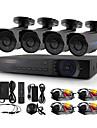 yanse® 4ch 720p 1200tvl CCTV-kamera dvr kit ir vattentät säkerhetssystem 1.0mp 3.6mm AHD-m