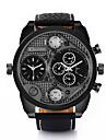 Bărbați Ceas Sport Ceas Militar Ceas La Modă Ceas de Mână Quartz Zone Duale de Timp Piele Autentică Bandă Vintage Casual MulticolorAlb