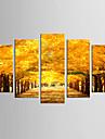 canvas Set Känd Blommig/Botanisk Moderna Realism,Fem paneler Kanvas Alla Form Print Art väggdekor For Hem-dekoration