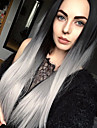 Sweety ombre gris argent a long perruque synthetique droite