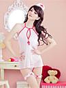 Feminin Ultra Sexy / Uniforme & Cheongsams / Costume Pijamale Organza Peteci Alb