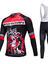 Maillot et Cuissard Long a Bretelles de Cyclisme Unisexe Manches longues VeloRespirable Sechage rapide Resistant a la poussiere