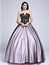 TS Couture Prom Dress - Color Block Ball Gown Strapless Floor-length Lace Tulle with Beading Lace