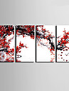 Moderne/Contemporain Autres Horloge murale,Rectangulaire Toile 30 x 60cm(12inchx24inch)x4pcs/ 40 x 80cm(16inchx32inch)x4pcs Interieur
