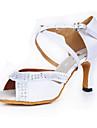Chaussures de danse(Blanc) -Personnalisables-Talon Bobine-Satin-Latines
