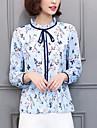 Dame Stil Nautic Bluză Ieșire Șic Stradă,Floral ¾ Manșon Primăvară Toamnă-Albastru Poliester
