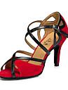 Chaussures de danse(Noir Rouge) -Personnalisables-Talon Bottier-Similicuir-Latines Baskets de Danse Modernes