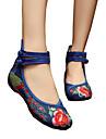 Damă Oxfords Primăvară Vară Toamnă Iarnă Confortabili Noutăți Pantofi brodate Pânză Outdoor Casual Atletic Toc Plat Cataramă FloriBej